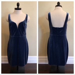 Express Velvet Sweetheart Mini Dress Holiday Blue